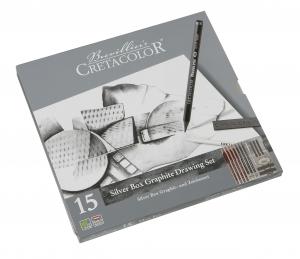 CRETACOLOR Silver Box Graphit- und Zeichenset im Metall Etui